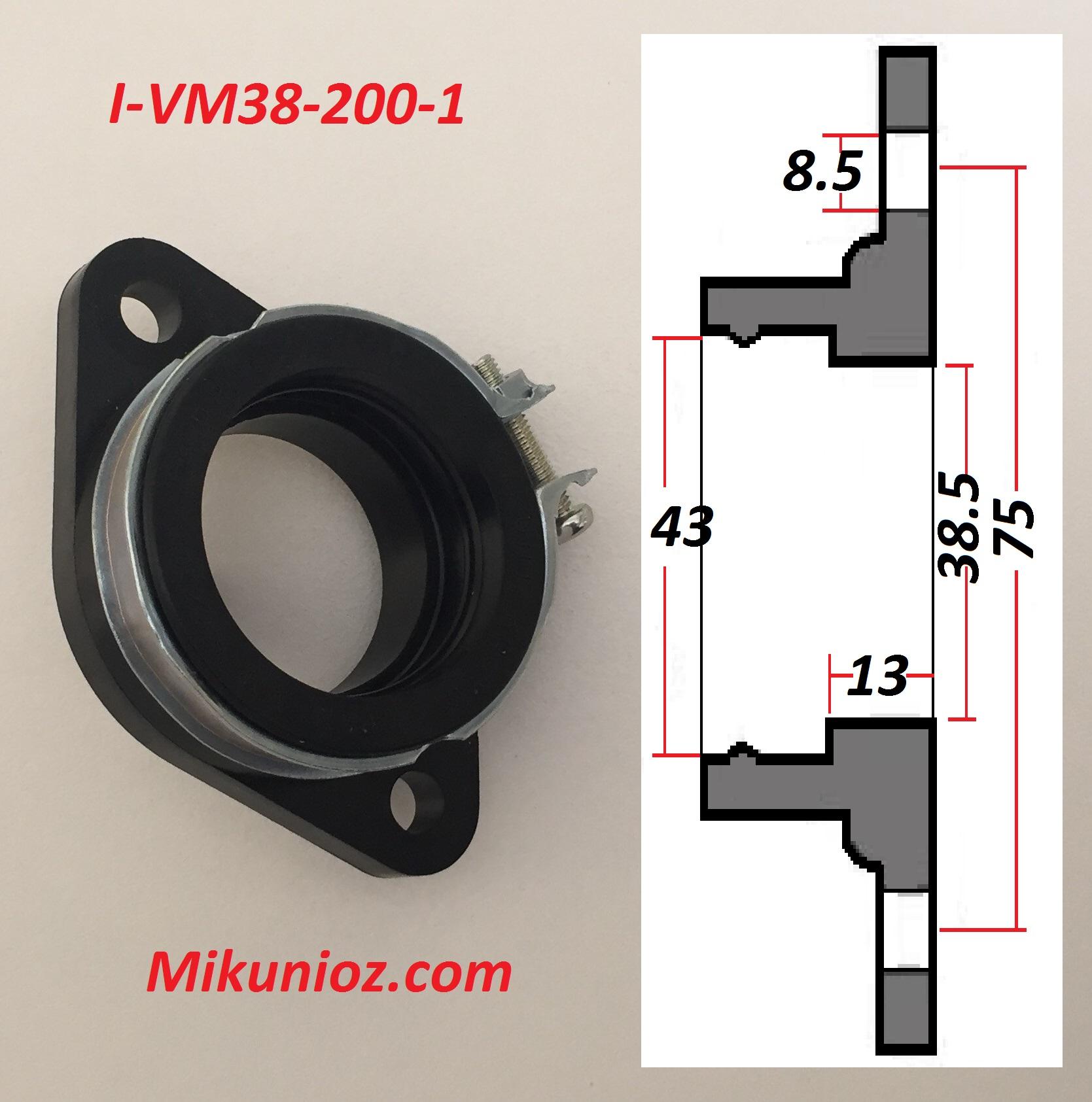 I-VM38-200-1 Mikuni Flange,43mm carb spigot dia-75mm bolt centres